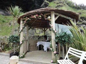 The tunnels open out into a wedding venue cut into the rock. The backdrop was the cliffs and the ocean.