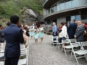 Here come the bridesmaids. Dresses by Coast in Mint Green