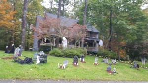 A Ghoulish site in anyone garden. Well decorated I think. Its even more eerie at night with sounds and lighting!