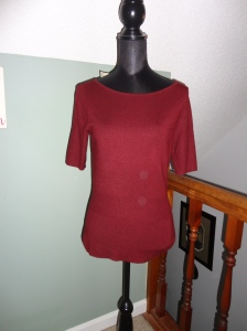 Burgundy, elbow length, soft knitted top from Ann Taylor - Tanger Outlets