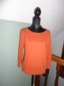 Pumpkin/Spice long sleeved light weight knit sweater with diamond detail from Loft