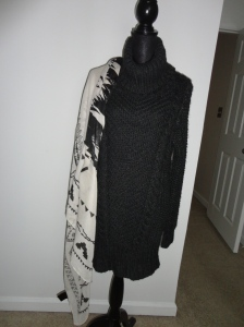 Large Aztec print scarf in cream and black $5 Cowl Neck Cable Wool Dress in Dark Grey