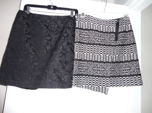 Black Mini Skirt Jacquard Design. TK Maxx $20 Black & White Patterned Short Skirt- Zip detail - Asymmetric. Marks & Spencer (2014)