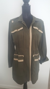 Military Style Jacket, cinched at the waist with contract trim